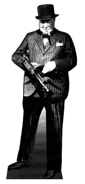 Winston Churchill - Holding Tommy Gun (British Prime Minister) - Lifesize Cardboard Cutout / Standee