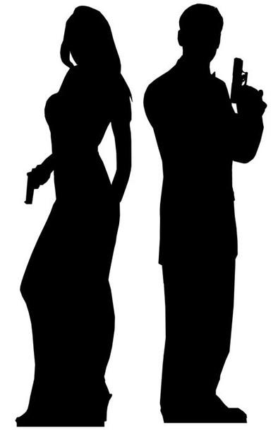Secret Agent Male & Female Double Pack Cardboard Cutout set