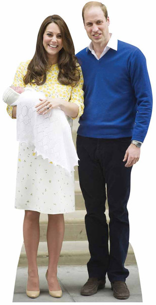 Princess Charlotte, Prince William and Kate The Duchess of Cambridge Lifesize Cardboard Cutout