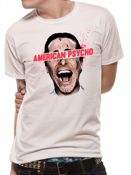 American Psycho Christian Bale with Bloody Face Official Unisex T-Shirt