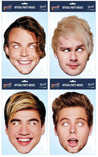 5 Seconds of Summer Variety Card Party Face Masks 4 Pack