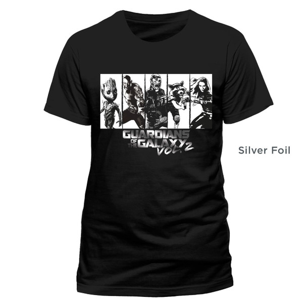 Silver Strips Guardians Of The Galaxy Vol. 2 Official Unisex Black T-Shirt