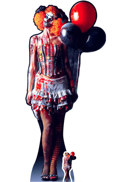 Scary Female Killer Clown Halloween Cardboard Cutout