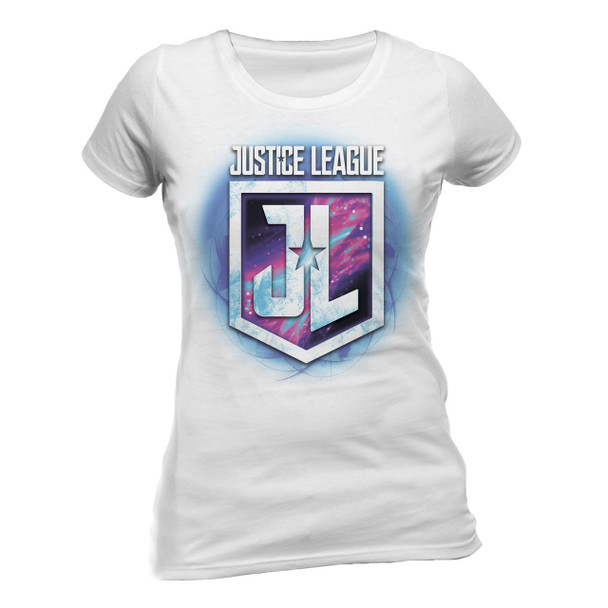 Justice League Purple Shield Logo Official Fitted Ladies T-Shirt