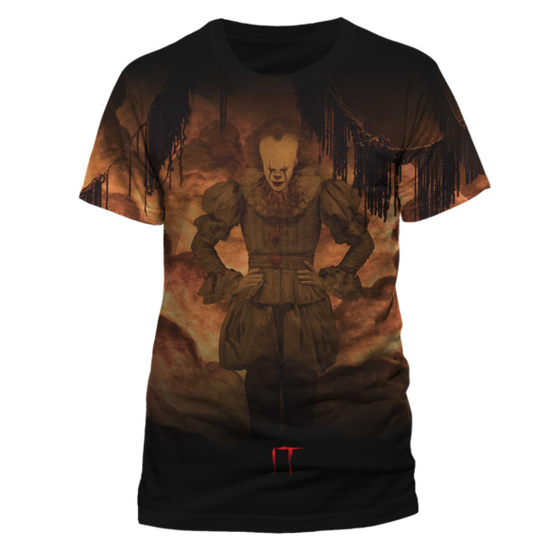 IT Pennywise Flames Sublimation Official Movie Licensed T-Shirt