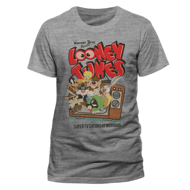 Looney Tunes Saturday Morning TV Group Official Unisex Grey T-Shirt