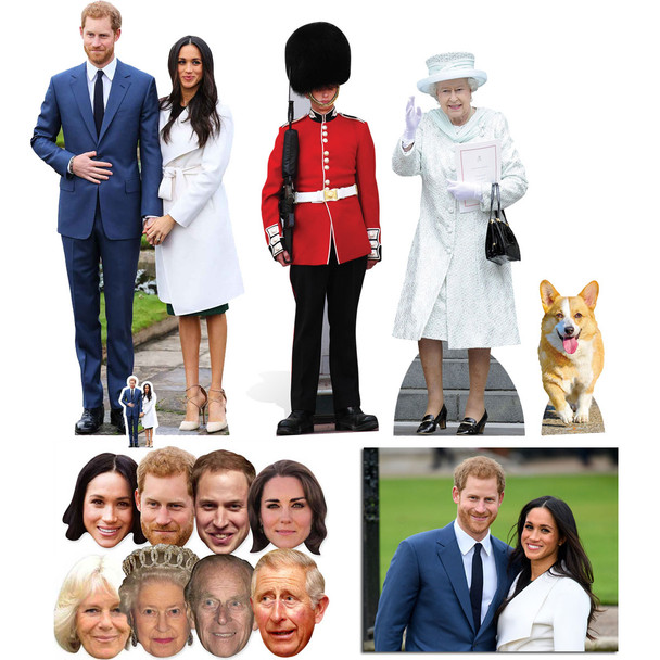Royal Wedding 2018 Prince Harry and Meghan Markle Cutout and Mask Gold Package