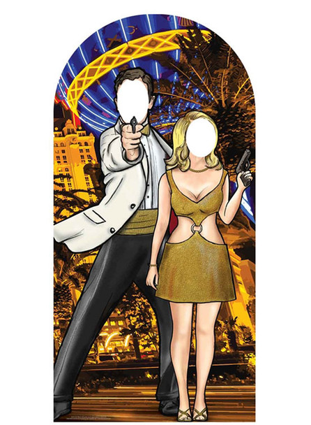 Black and Gold Secret Agent Stand -In Cardboard Cutout