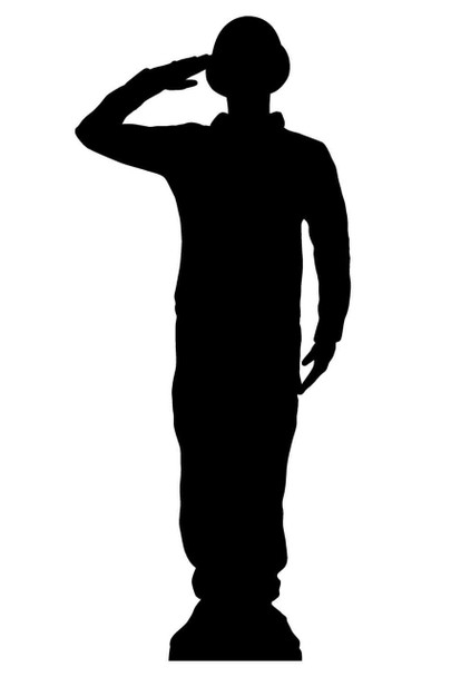 Saluting Wartime Soldier Silhouette Lifesize Cardboard Cutout