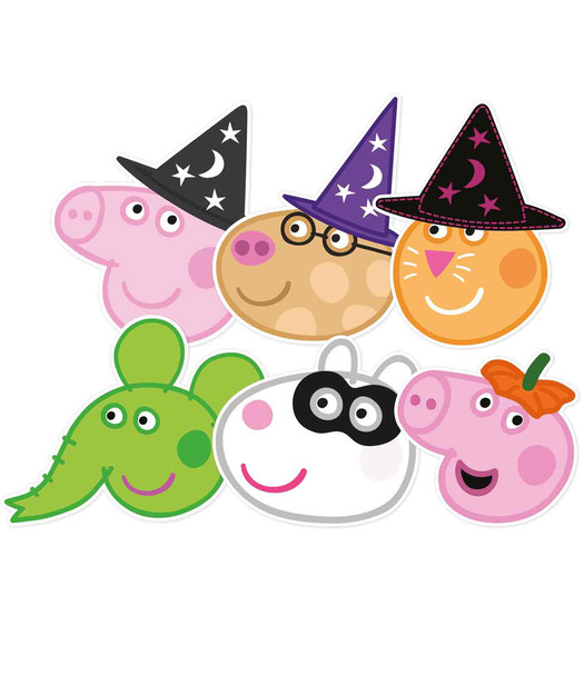 Peppa Pig and Friends Halloween 2D Card Party Face Mask Variety 6 Pack