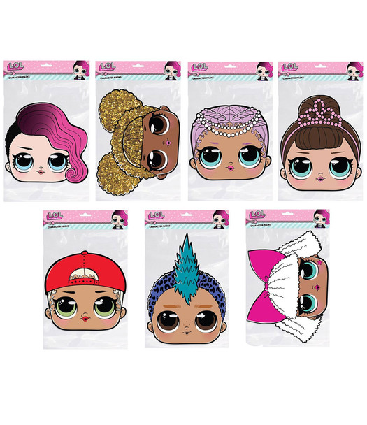 LOL Surprise 2D Card Party Face Masks Variety Pack of 7