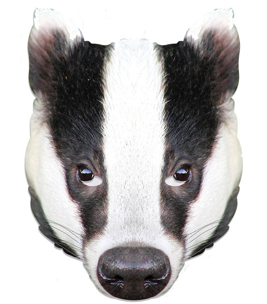 Badger Animal Single 2D Card Party Face Mask