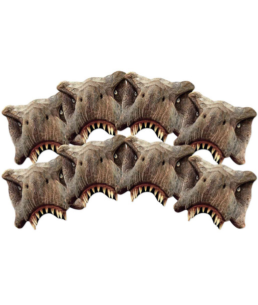 Tyrannosaurus Rex Jurassic World 2D Card Party Half Face Mask Pack of 8