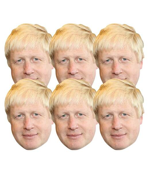 Boris Johnson 2D Card Party Face Masks Pack of 6