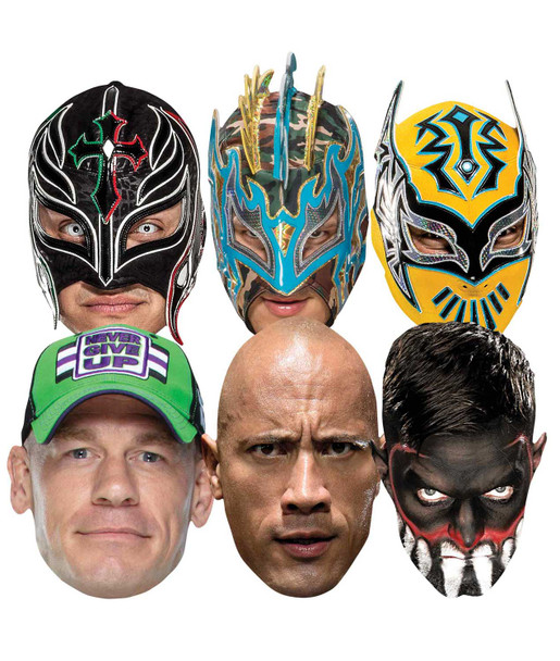 WWE Wrestlers Official 2D Card Party Face Masks Variety 6 Pack