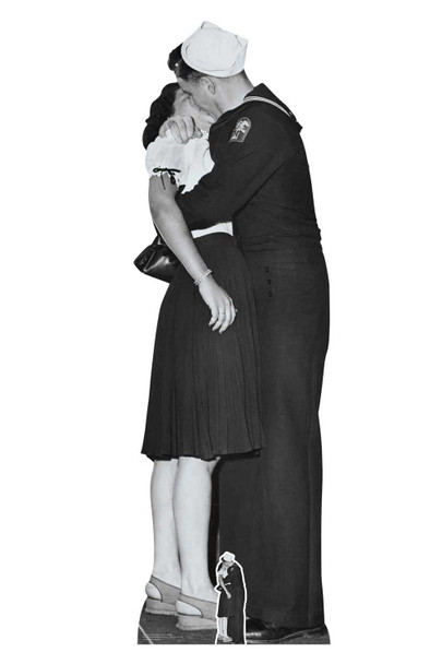 Victory Day Couple Lifesize Black and White Cardboard Cutout / Standee