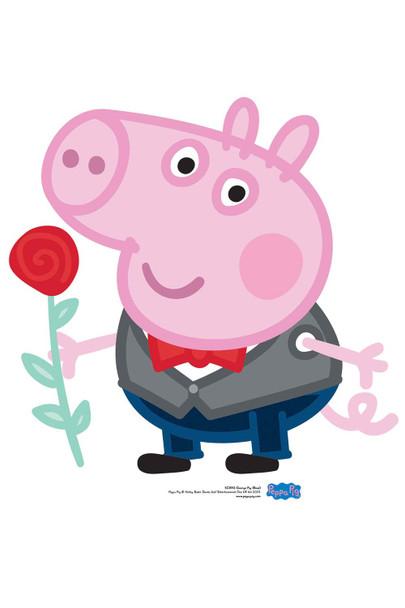 George Pig Valentine's Rose Cardboard Cutout / Standee