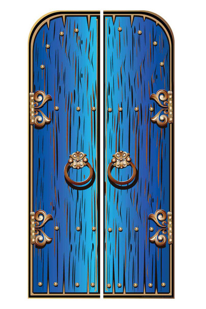Magical Fantasy Blue Double Doors Cardboard Decor