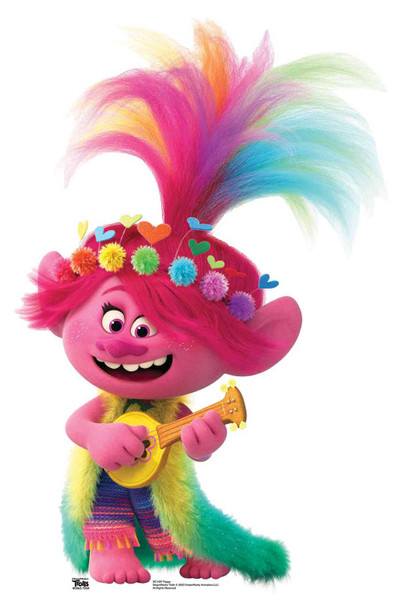 Princess Poppy with Ukulele Official Trolls World Tour Mini Cardboard Cutout