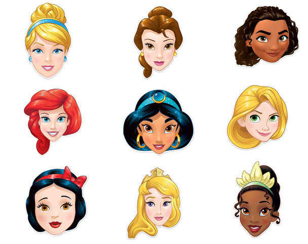 Disney Princess Official Child Size 2D Card Party Mask Variety 9 Pack