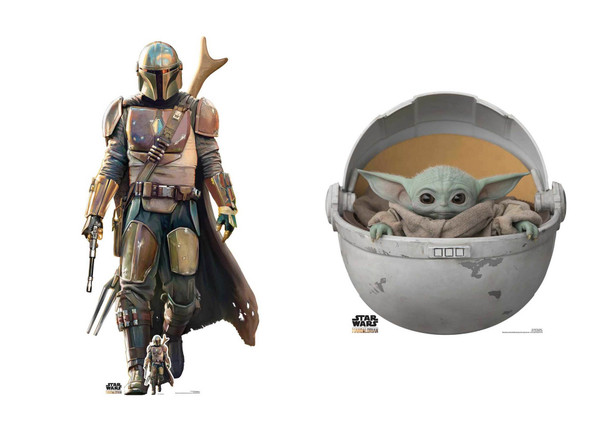 The Mandalorian and Baby Yoda Official Star Wars Cardboard Cutout Pack of 2
