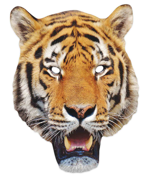 Tiger 2D Animal Single Card Party Mask