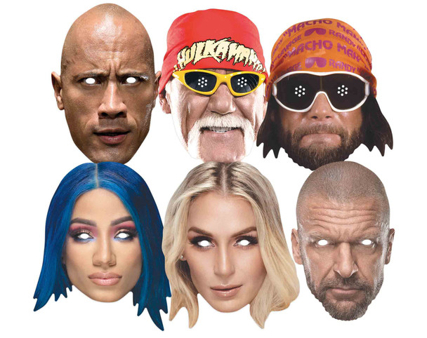 WWE Legendary Wrestlers Official 2D Card Party Face Masks Variety 6 Pack