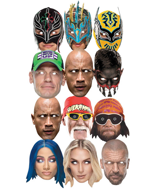 WWE Wrestlers Official 2D Card Face Masks Bumper Party Variety 12 Pack