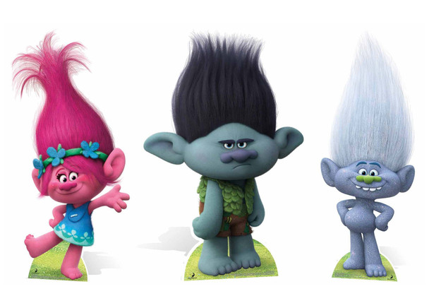 Trolls Cardboard Cutout Triple Pack with Poppy, Branch and Guy Diamond