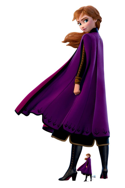 Anna Purple Coat from Frozen 2 Official Disney Cardboard Cutout with mini
