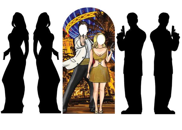 Secret Agent Bond Theme Gold Cardboard Cutout Party Pack of 3