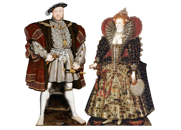 The Tudors Henry VIII Elizabeth I Cardboard Cutout Set of 2