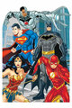 Justice League Comic Style Official Child Size Stand In Cardboard Cutout with faces