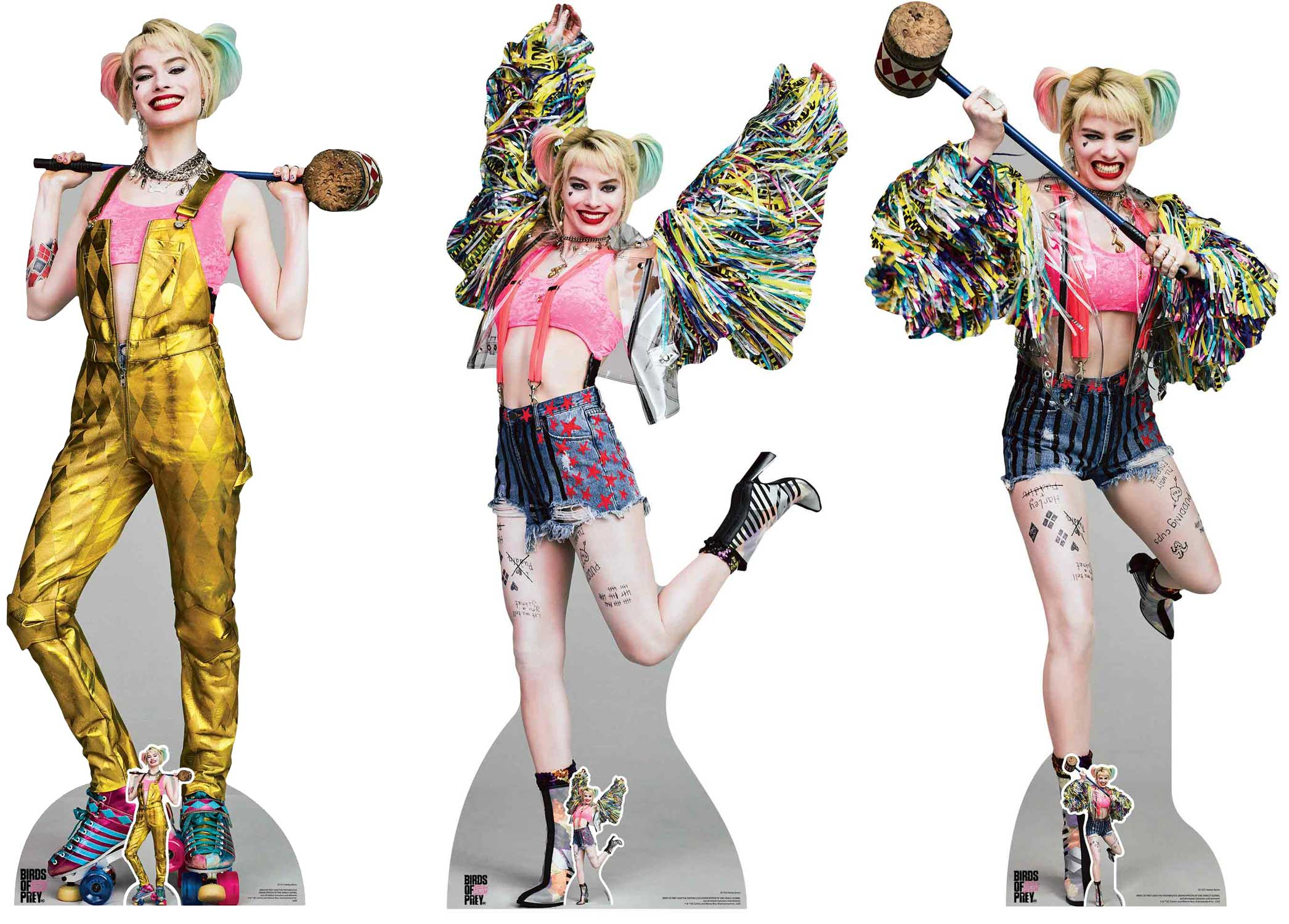 Harley Quinn Margot Robbie From Birds Of Prey Official Lifesize Cardboard Cutout Collection Set Of 3