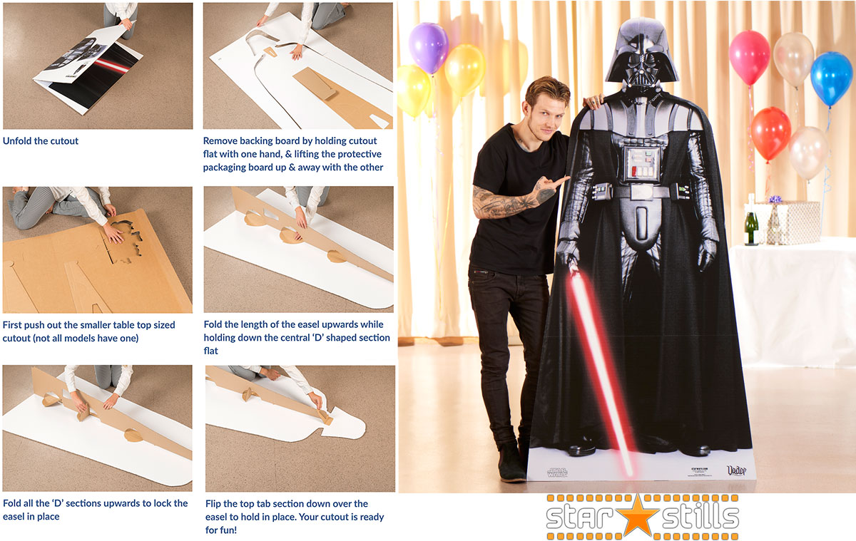 Image showing instructions on how to setup a lifesize cardboard cutout