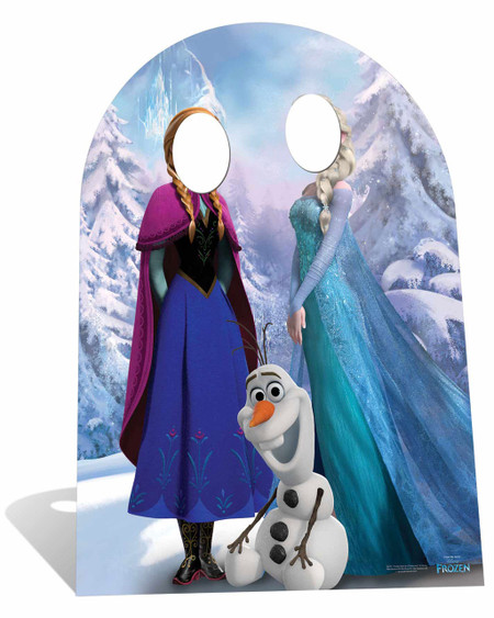 aa135c2a2c980 Child Size Disney Frozen Anna and Elsa with sitting Olaf Cardboard Stand-in  Cutout   Standee. Buy Disney Frozen standups   standees at starstills.com