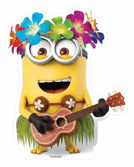 Hawaiian Minion With Guitar Mini Cardboard Cutout Standee Stand