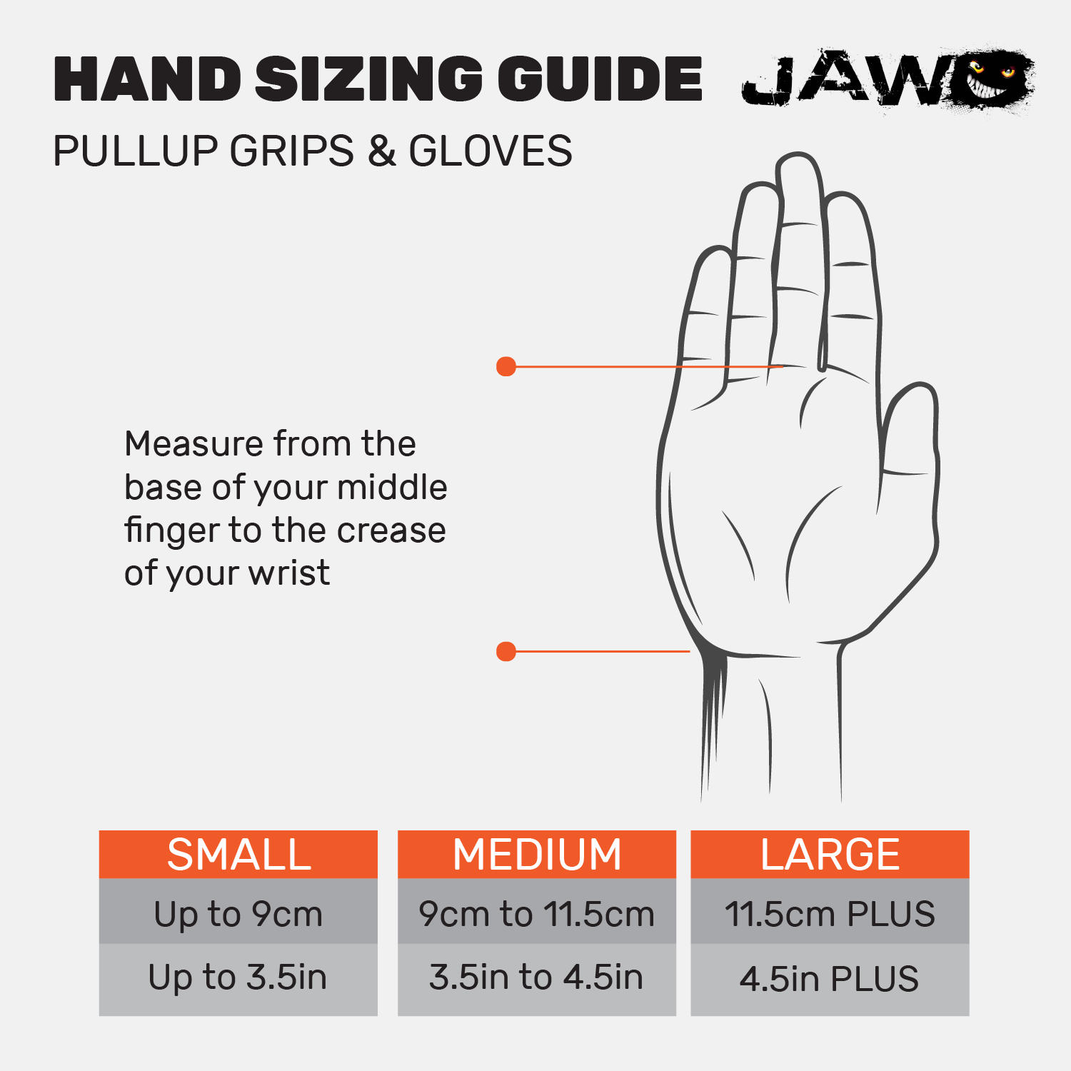 jaw sizing charts will ensure you buy the right size product