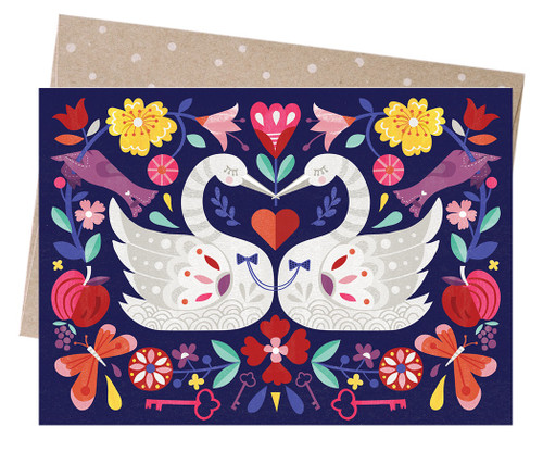 Earth Greetings - Cards - Swans Embracing