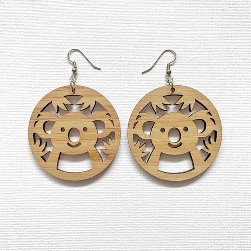 Wombat Laser - Earrings - Koala cutout dangles