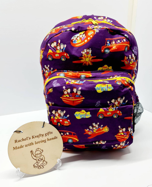 Rachels Krafty Gifts - 2 Pocket Backpack - Toddler - Wiggles (purple)