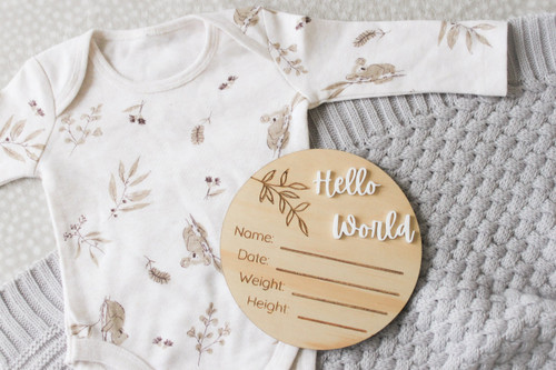 The Wood Series - Wooden & Acrylic - Birth Announcement - Hello World