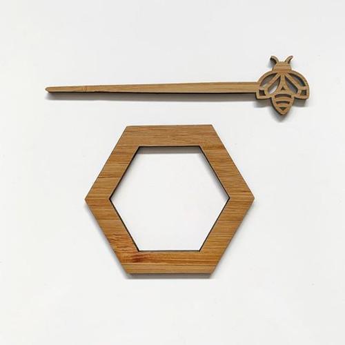 Wombat Laser - Scarf/Shawl Pin - bee & hive