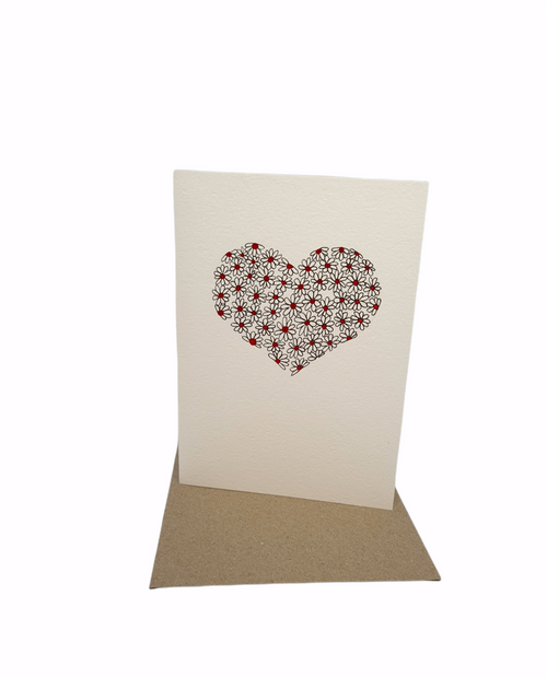 Art Susi - Cards - ink & watercolour - Hearts & Daisies