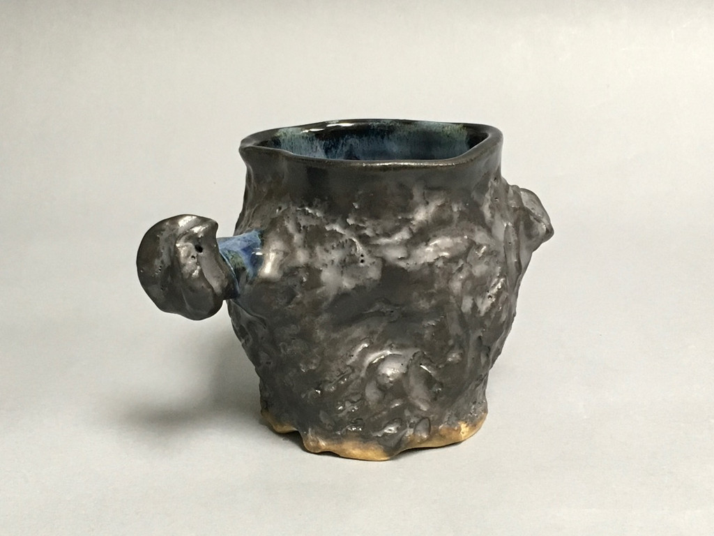 Meteorite Mug with a Blue Nebula Interior, roughly 16-17 ounce size, (SK302)