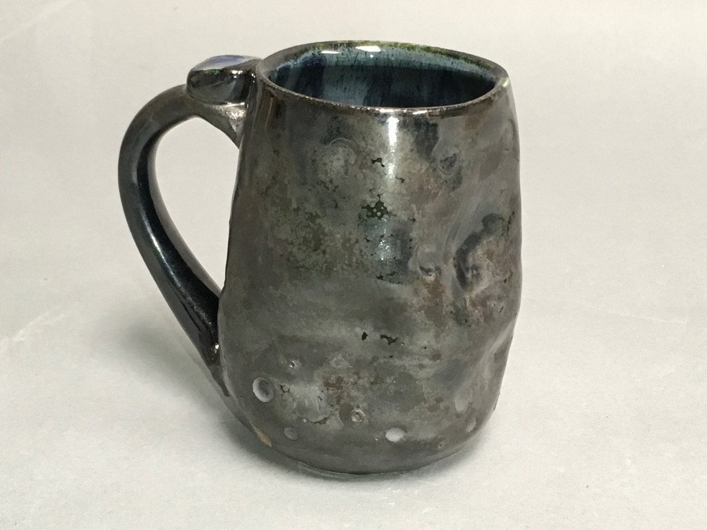 Meteor Mug with a Blue Nebula Interior, roughly 12-14 ounce size, (SK326)