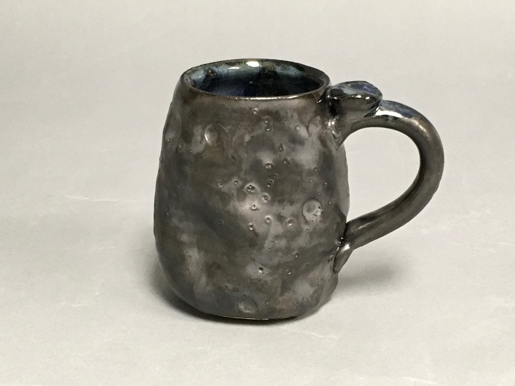 Meteor Mug with a Blue Nebula Interior, roughly 12-14 ounce size, (SK534)