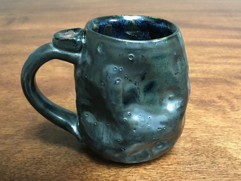 Small Meteor Mug with a Blue Nebula Interior, roughly 10-12ounce size, (SK1152)