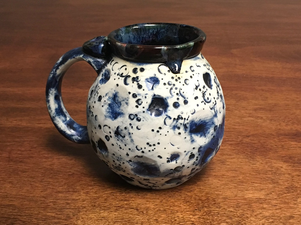 Blue Moon Mug with a Blue Nebula Interior, roughly 15-17oz size, (SK1535)