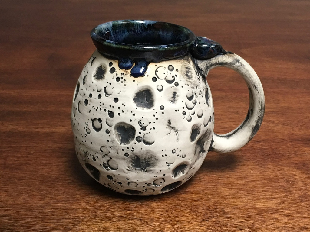 Moon Mug with a Blue Nebula Interior, roughly 15-17oz size, (SK1538)